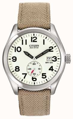 Citizen エコドライブメンズキャンバスストラップウォッチ BV1080-18A