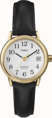 Timex レディースホワイトブラックレザーストラップウォッチ T2H341