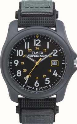 Timex メンズ遠征ブラックフェイスナイロンストラップウォッチ T42571