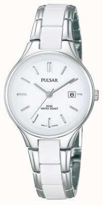 Pulsar レディースホワイトセラミック&ステンレススチールホワイトダイヤルウォッチ PH7267X1