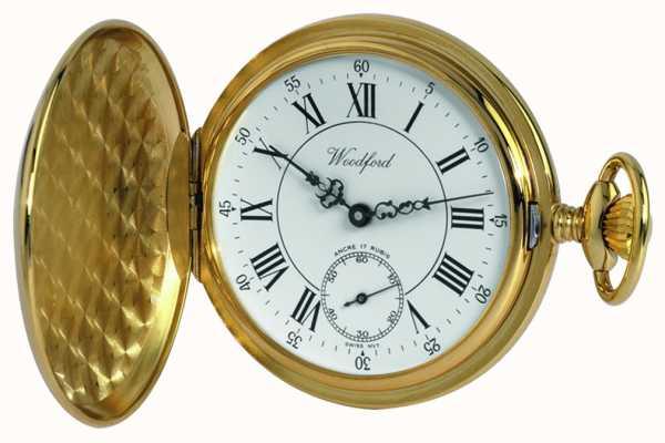Woodford ゴールドプレートローマンホワイトダイヤルの機械式懐中時計 1009