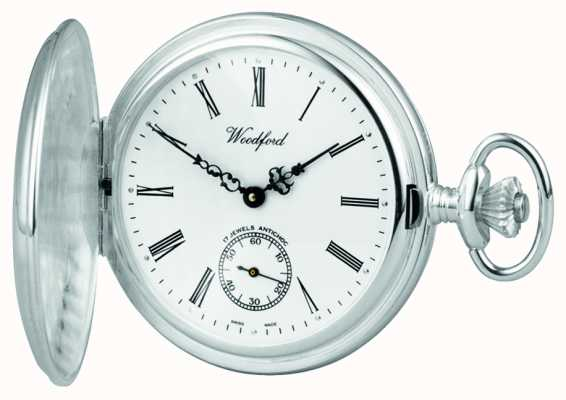 Woodford ステンレススチールホワイトダイアルフルハンターケース懐中時計 1001
