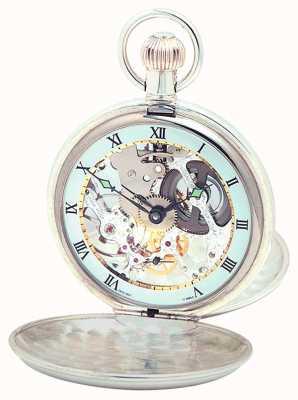Woodford スターリングシルバープレーンスケルトンのスイスの懐中時計 1003