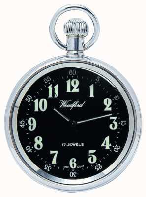 Woodford メカニカルオープンポケット腕時計ステンレススチールブラックダイヤル 1040