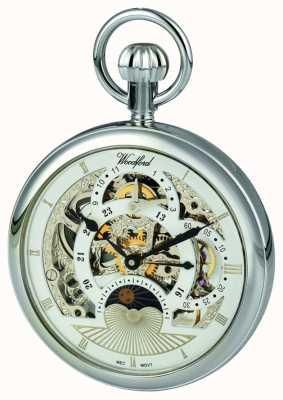 Woodford クロムスケルトンダイヤルデュアルタイムゾーンの懐中時計 1050