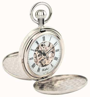 Woodford フルハンタークロームメッキメタルスケルトン懐中時計 1062