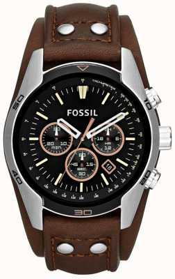 Fossil Mens coachmanブラックダイヤルブラウンレザーカフスウォッチ CH2891