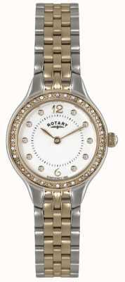 Rotary レディース2トーン、クリスタルウォッチ LB02868/01