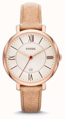 Fossil レディースジュエリー、ローズゴールドベージュストラップ ES3487