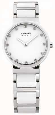 Bering レディースホワイトセラミック、スチール、クリスタルウォッチ 10729-754