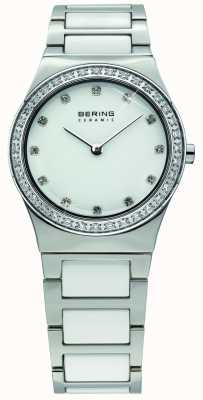Bering レディースホワイトセラミック、クリスタルウォッチ 32430-754