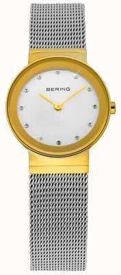 Bering 時間レディースゴールドとシルバーの古典的なメッシュ 10122-001