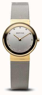 Bering タイムレディースゴールドとシルバーのクラシックメッシュ 10122-001