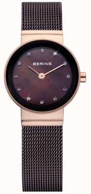 Bering タイムレディースブラウンクラシックメッシュウォッチ 10122-265