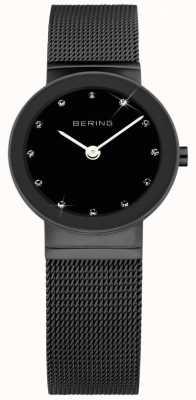 Bering レディースブラックIPスチール、ブラックダイヤル、クリスタル 10126-077
