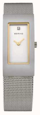 Bering メッシュストラップ、スチール、ホワイトダイヤル、ゴールドアクセント 10817-004