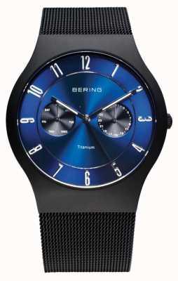 Bering メンズチタンブラックブラックダイヤルウォッチ 11939-078