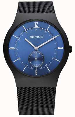 Bering メンズブラック、スリム、ブルーダイヤルウォッチ 11940-227