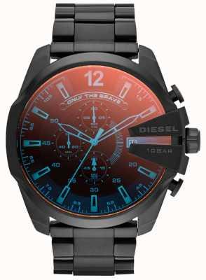 Diesel メンズメガチーフブラックIPスチール虹色の時計 DZ4318