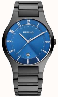 Bering メンズブラックチタン、ブルーダイヤルウォッチ 11739-727