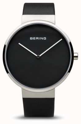 Bering レディースクラシック、ブラックダイヤル、スチール、レザー 14539-402