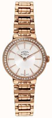 Rotary レディースレディースゴールドプレートクリスタルセット時計 LB90085/02