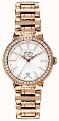 Rotary レディースレディースゴールドプレートクリスタルセット時計 LB90085/02L
