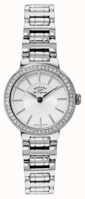 Rotary レディースレディースステンレススチールクリスタルセット時計 LB90081/02