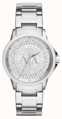 Armani Exchange 女性の都市の水晶セットステンレス鋼のブレスレット AX4320