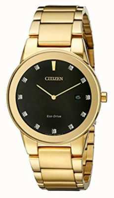 Citizen |メンズ公理エコドライブダイヤモンドセットブラックダイヤル|ベクターイラスト| CLIPARTO AU1062-56G