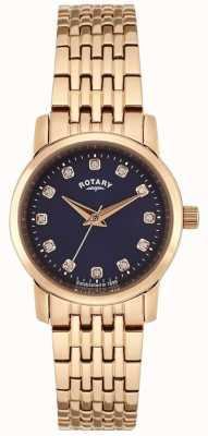 Rotary レディースローズゴールドブルーダイヤル LB02462/05