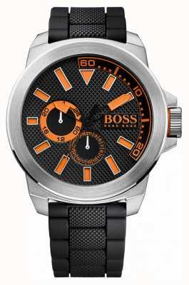 Hugo Boss Orange メンズステンレススティール、ブラックラバーストラップ 1513011