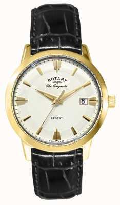 Rotary メンズレジェントブラックレザーストラップ GS90115/01