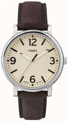 Timex オリジナル茶色の革ストラップウォッチ T2P526