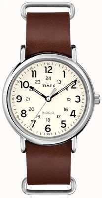 Timex オリジナルウィークエンダーブラウンレザーストラップ T2P495