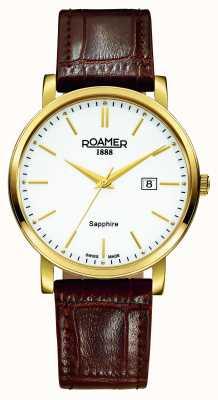 Roamer クラシックライン|茶色の革ストラップ|白い文字盤 709856 48 25 07