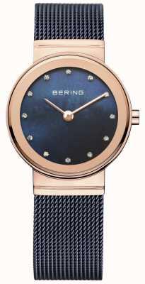 Bering レディースブルーメッシュpvdバラゴールドケース 10126-367