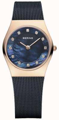 Bering レディースローズゴールド、ブルーパール、クリスタル 11927-367