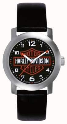 Harley Davidson メンズブラックレザーストラップウォッチ 76A04