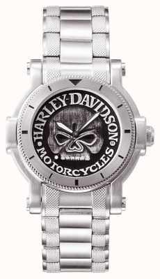 Harley Davidson メンズウィリーgの頭蓋骨の腕時計 76A11