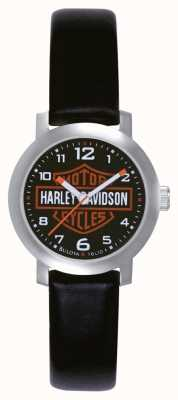 Harley Davidson レディースブラックレザーストラップウォッチ 76L10