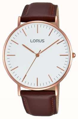 Lorus メンズブラウンレザーストラップホワイトダイヤル RH880BX9