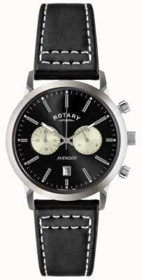 Rotary メンズアヴェンジャーブラックレザーストラップクロノ GS02730/04