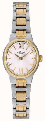 Rotary レディース2トーンブレスレットホワイトダイヤル LB02747/01
