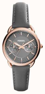 Fossil レディーステーラードグレーレザーストラップグレーダイヤル ES3913