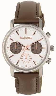 Kahuna レディースブラウンストラップホワイトダイヤル KLS-0318L