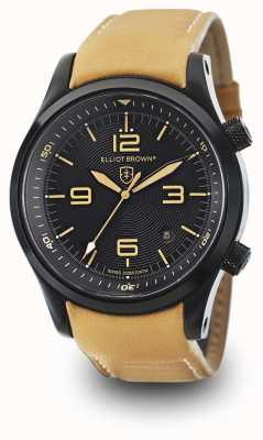 Elliot Brown Mens canford tan leatherブラックダイヤル 202-008-L04