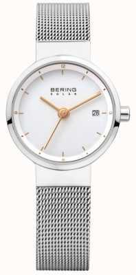 Bering レディースソーラーステンレスメッシュホワイトダイヤル 14426-001