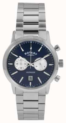 Rotary ステンレススチールブルーダイヤルメンズリバース GB02730/05