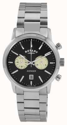 Rotary Mens Avengerステンレススチールブラックダイヤル GB02730/04